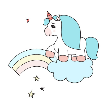 chic: Unicorn on the cloud goes to the rainbow Illustration