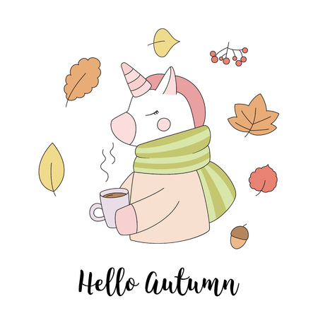 Cute autumn unicorn with a cup of hot tea. Illustration