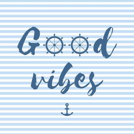 Gute Vibes-Vektor-Postkarte im nautischen Stil Standard-Bild - 85883105