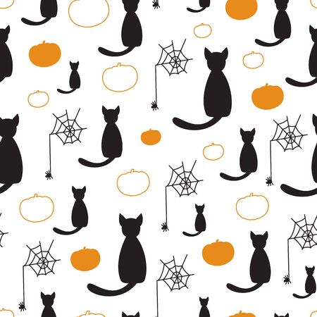 roundish: Black cats and pumpkins seamless vector pattern for Halloween