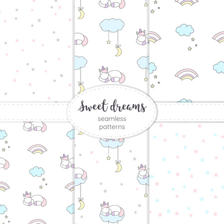 Collection of night seamless vector patterns.
