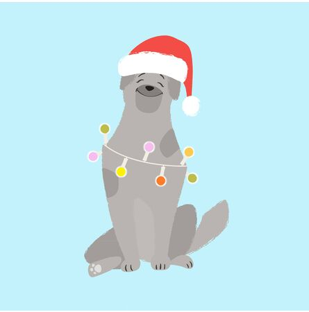 A nice dog in a Santa Claus hat. Illustration