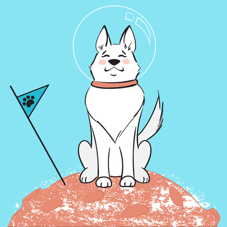 The dog astronaut sits on the planet. Illustration