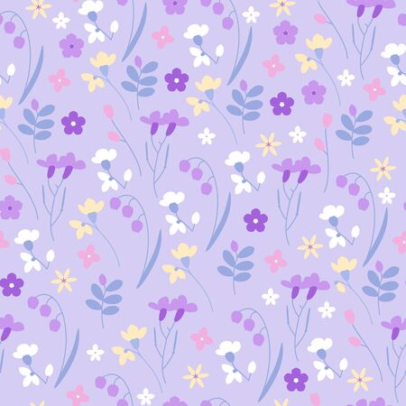 Cute meadow grass and flowers seamless vector pattern. Illustration
