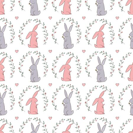 Cute wild flowers around. Rabbit gives a flower Illustration