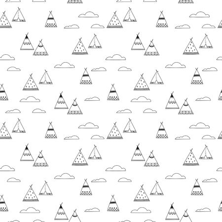 Indian teepee seamless vector pattern. Stock Vector - 93264550