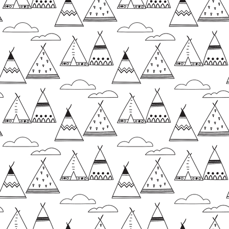 Indian teepee seamless vector pattern.