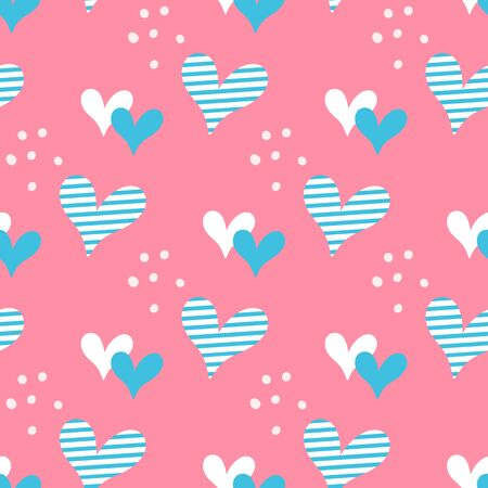Hand drawn hearts and dots seamless vector pattern. Illustration