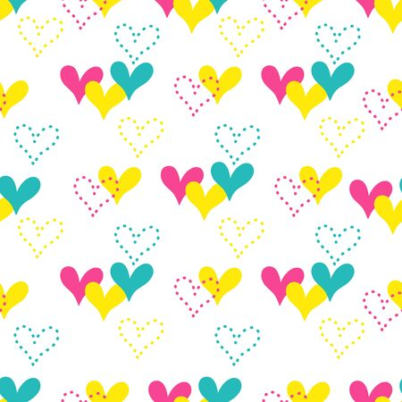 Colorful hand drawn hearts seamless vector pattern. Illustration