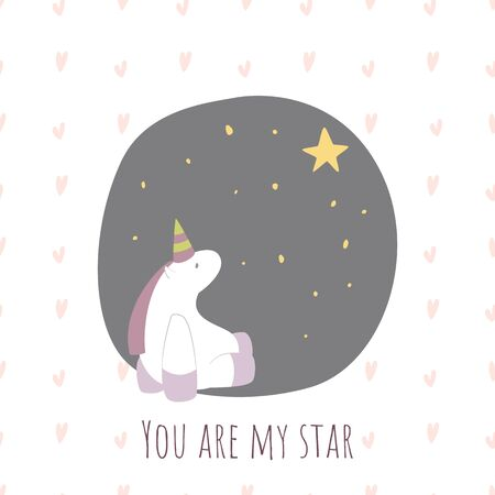 You are my star postcard for Valentines Day with a unicorn.