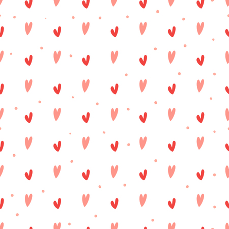 Cute hand drawn hearts and dots seamless vector pattern.