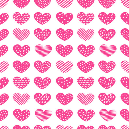 Cute hand drawn hearts with differents patterns seamless vector pattern.