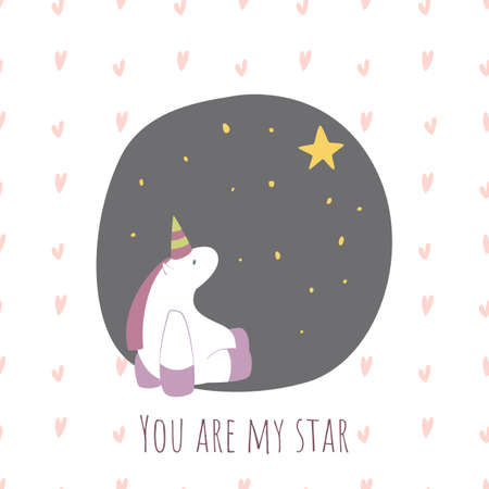 You are my star. Postcard for Valentines Day with a Unicorn.