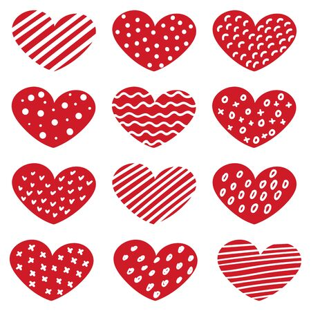 Set of hand drawn hearts with different patterns isolated vector illustration.