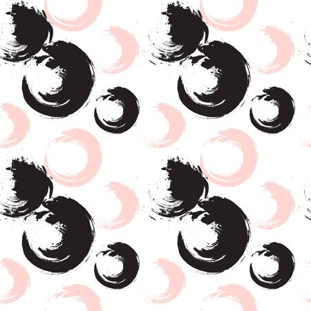 Abstract circles painted in ink seamless vector pattern.