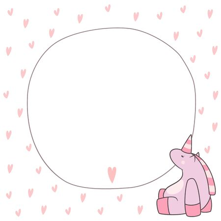Cute romantic card with unicorn.