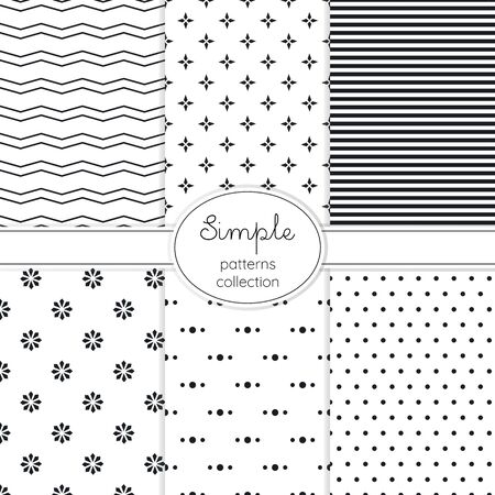 Elegant set of black and white seamless vector patterns.