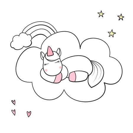 Cute unicorn sleeping on cloud isolated vector illustration. Stock Vector - 94818150