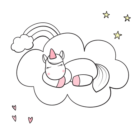 Cute unicorn sleeping on cloud isolated vector illustration.
