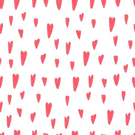 Cute hand drawn hearts seamless vector pattern.