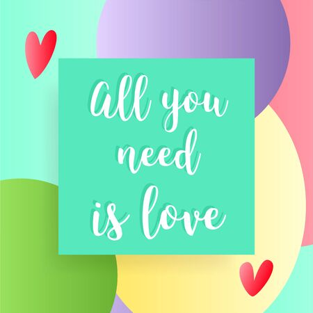 All you need is love vector postcard.