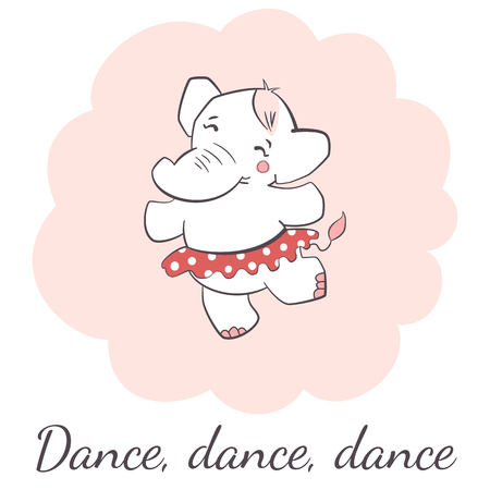 Cute elephant dancing isolated vector illustration. Illustration