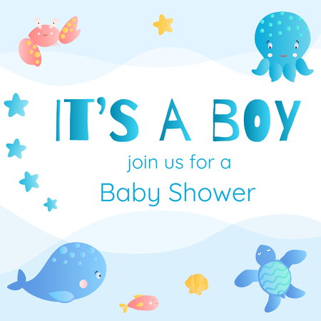 Its a boy. Baby Shower invitation in marine style. Stock Vector - 95363087