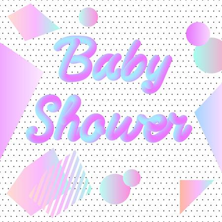 Neon Baby Shower invitation on white background illustration.