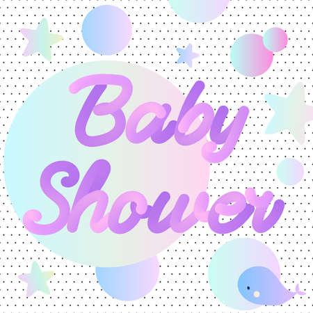 Neon Baby Shower invitation with a whale. Stock Vector - 95363088