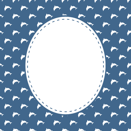 Vector template of postcards in marine style with minimalist dolphins. Illustration