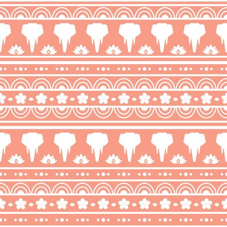 Seamless vector pattern with elephants in Asian style. White silhouettes on a red background