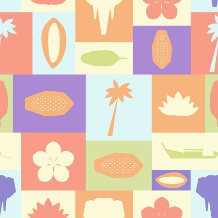 Seamless vector pattern with symbols of Thailand