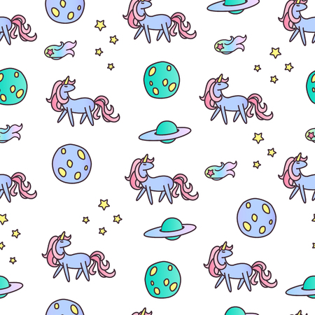 Unicorns in space seamless vector pattern.
