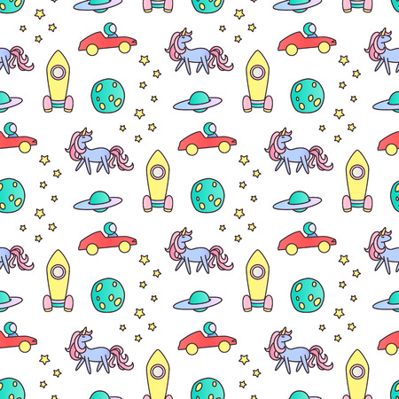 Unicorns, rockets and astronaut in car seamless vector pattern.