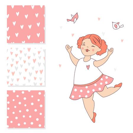 Dancing ballerina and 3 seamless vector patterns. Surface design for kids.