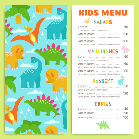 Childrens menu with dinosaurs. Design vector template.