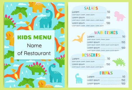 Kids menu with dinosaurs. Design vector template.