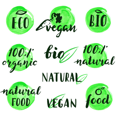 A set of logos for natural products. Hand drawn lettering. Illustration