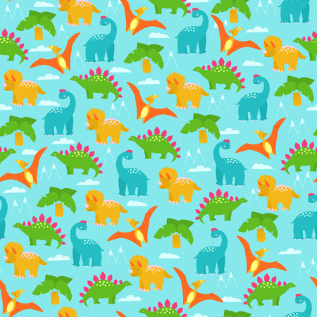 Multicolored dinosaurs in cartoon style seamless vector pattern.