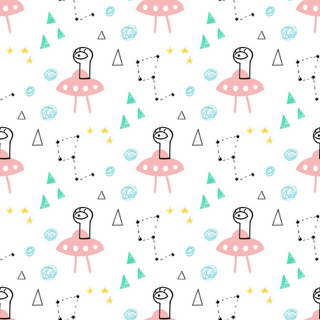 Cute and funny aliens seamless vector pattern.