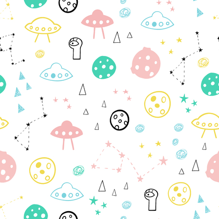 Funny one-eyed alien in space seamless vector pattern.