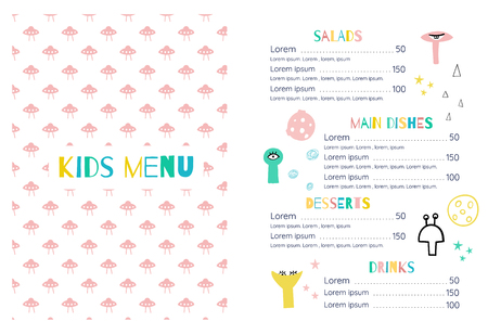 Kids menu in the space style.