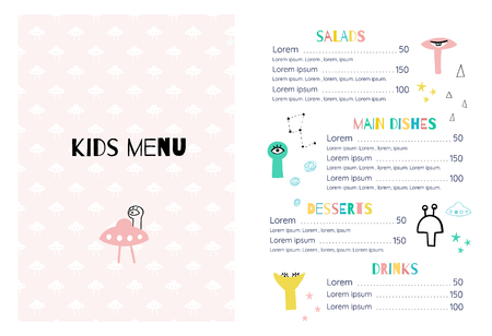 Childrens menu in the space style template. Stock Vector - 126441054