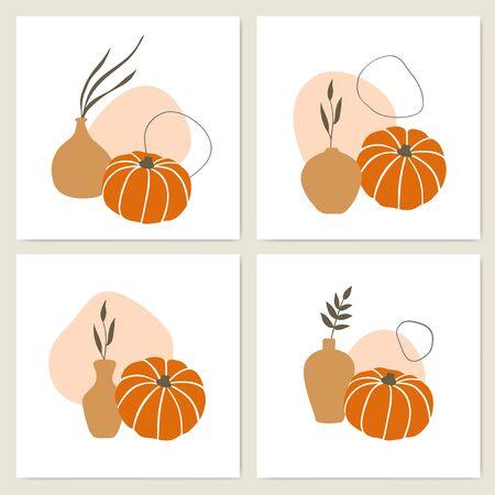 Pumpkins and vases of unusual shapes, warm natural shades.