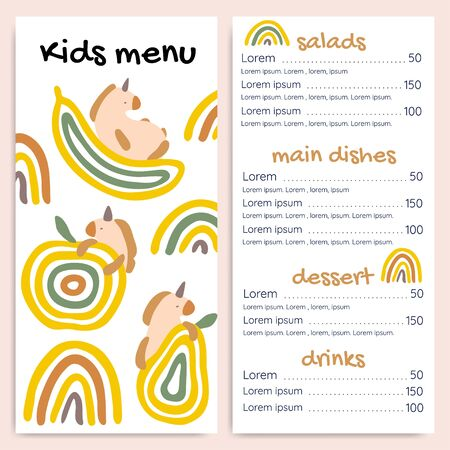 Kids menu vector template with unicorns and fruits. Illustration