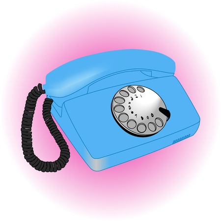 Vintage old telephone over white ligth background Illustration