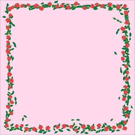 Frame with roses, branches, leaves and petals isolated on rose background. flat lay, overhead view.