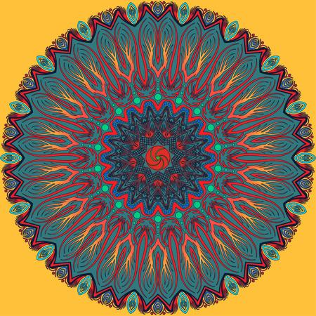 Flourish tiled floral geometric seamless pattern. Abstract oriental background. Wonderland ornament motives of the paintings of arabic mandala. Aribic fabric pattern. Illustration