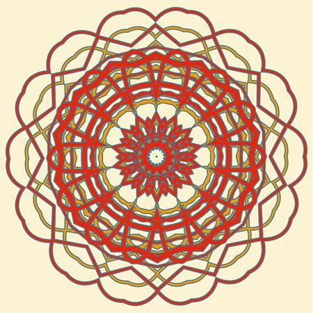 vintage postcard: Colorful Mandala. Ethnic tribal ornaments. Geometric and floral motifs.