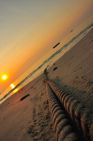 Rope and sunset Stock Photo